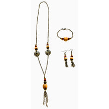 Load image into Gallery viewer, Bronze Breeze Porcelain Necklace, Earring and Bracelet Set