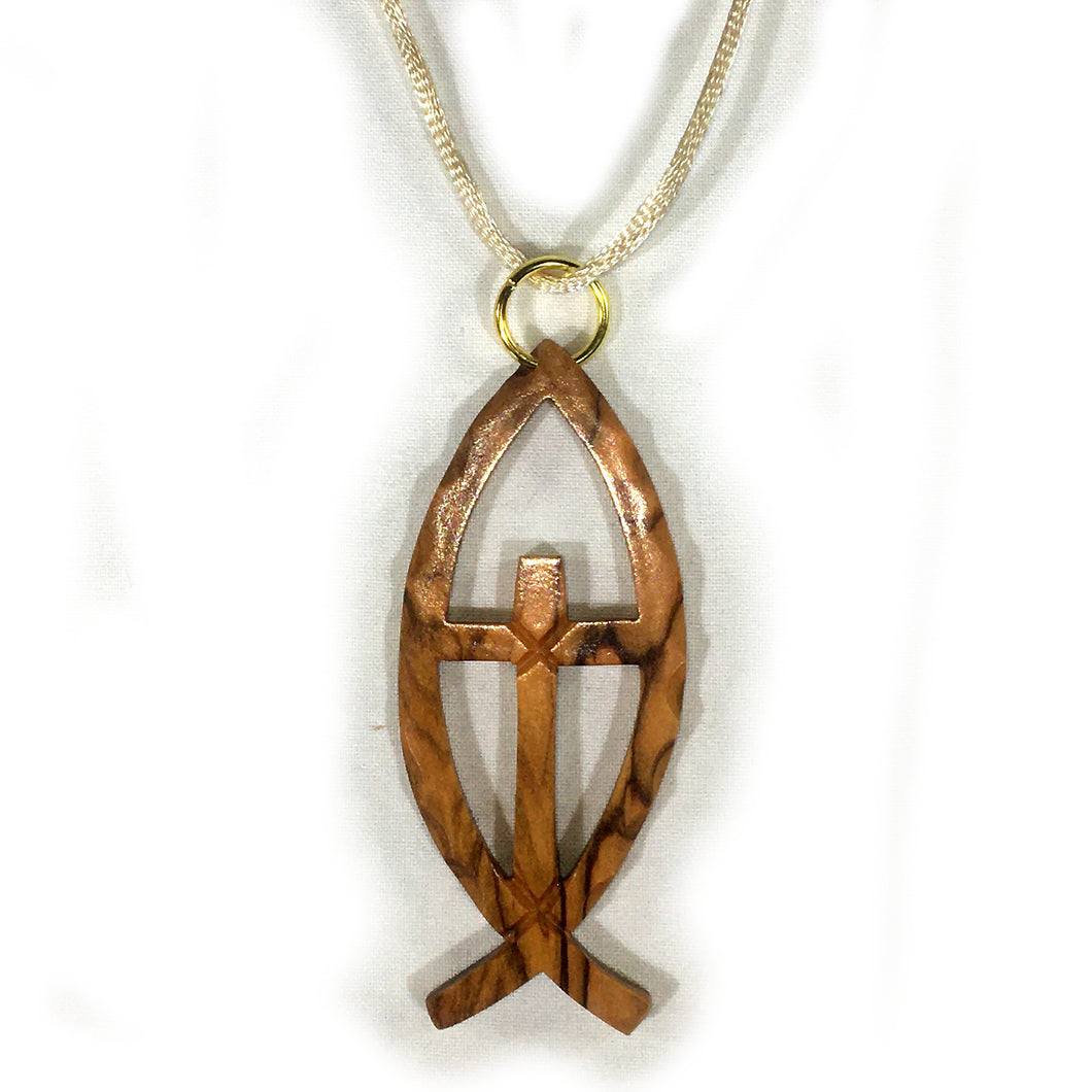 Olive Wood Cross in Ichthus Pendant Necklace