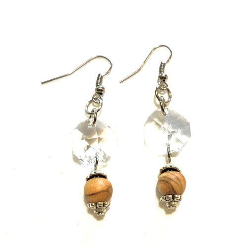 Olive Wood Crystal Clear Earrings