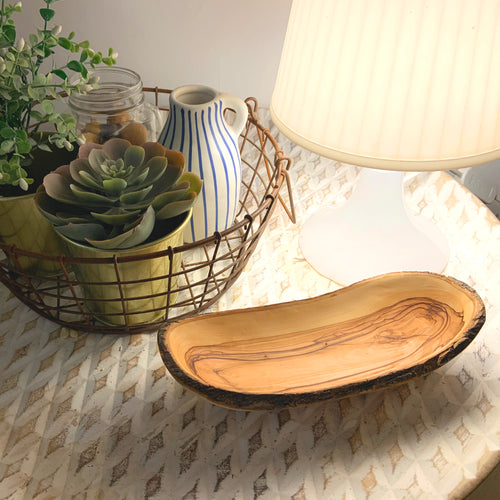 Olive Wood Natural Bark Deluxe Bowl
