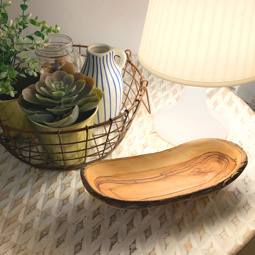 Olive Wood Natural Bark Bowl, Deluxe