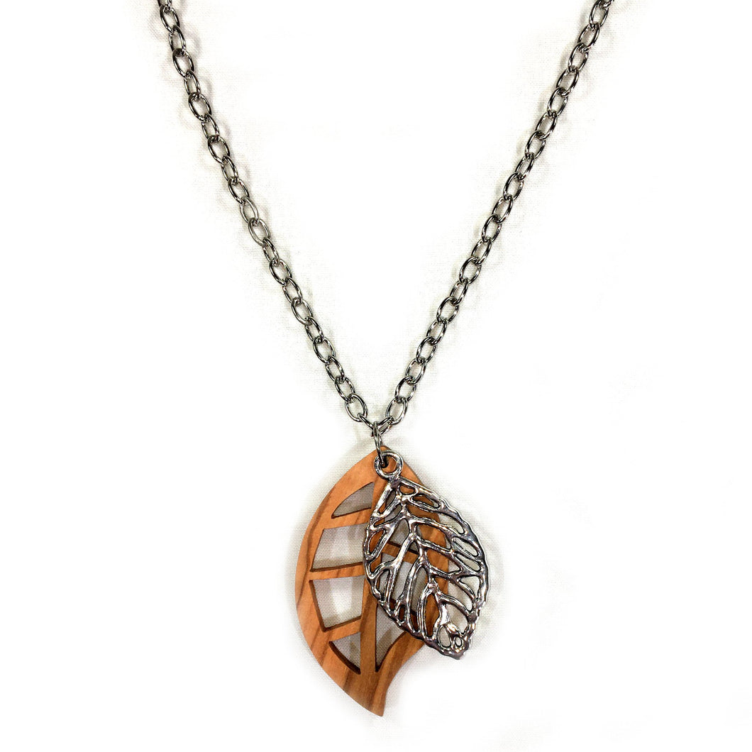 Olive Wood Double Leaf Silver Necklace
