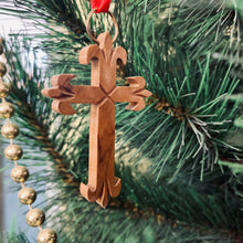 Load image into Gallery viewer, Olive Wood Fleur de Lis Cross Ornament