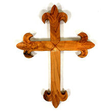 Load image into Gallery viewer, Olive Wood Fleur de Lis Wall Cross
