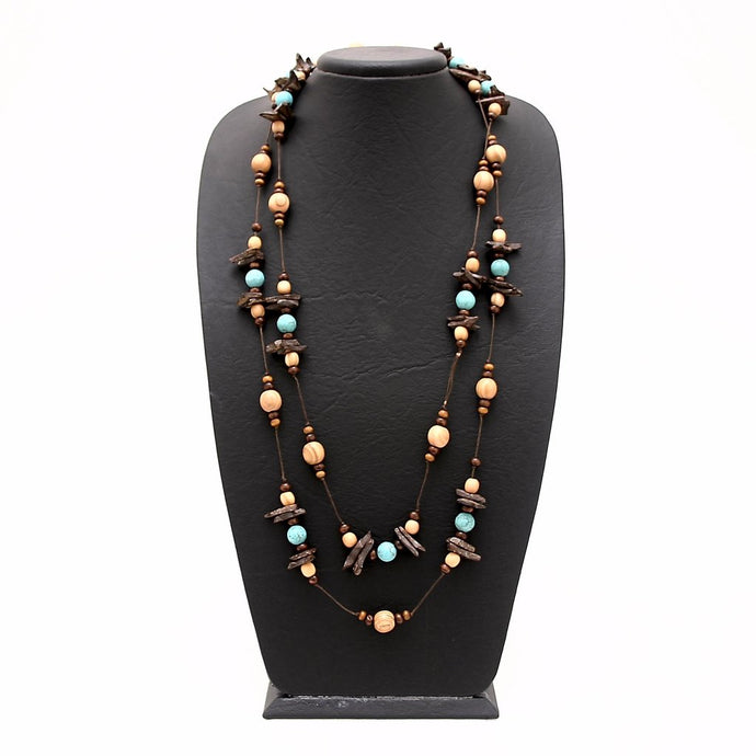 Free Spirit Turquoise and Coconut Wrap Necklace
