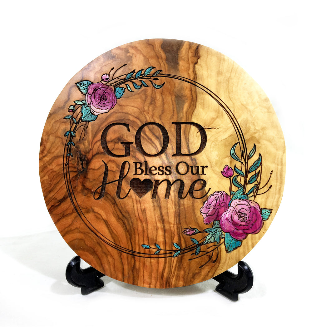 Olive Wood God Bless Our Home Plaque - Painted