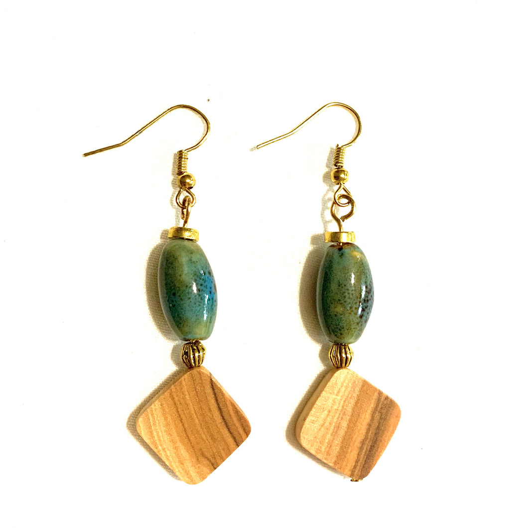 Meadows Green Porcelain Earrings