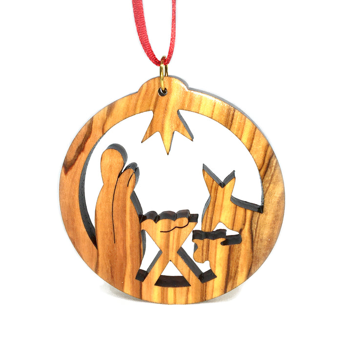Olive Wood Holy Family in Circle Ornament