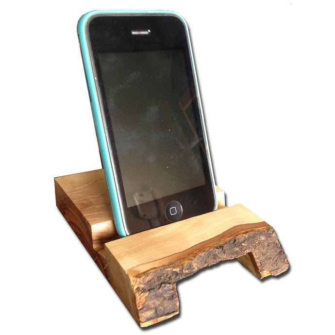 Olive Wood Natural Bark Handheld Device Stand (Natural Amplifier)