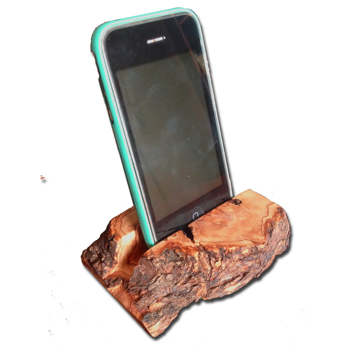 Olive Wood Natural Bark Handheld Device Stand