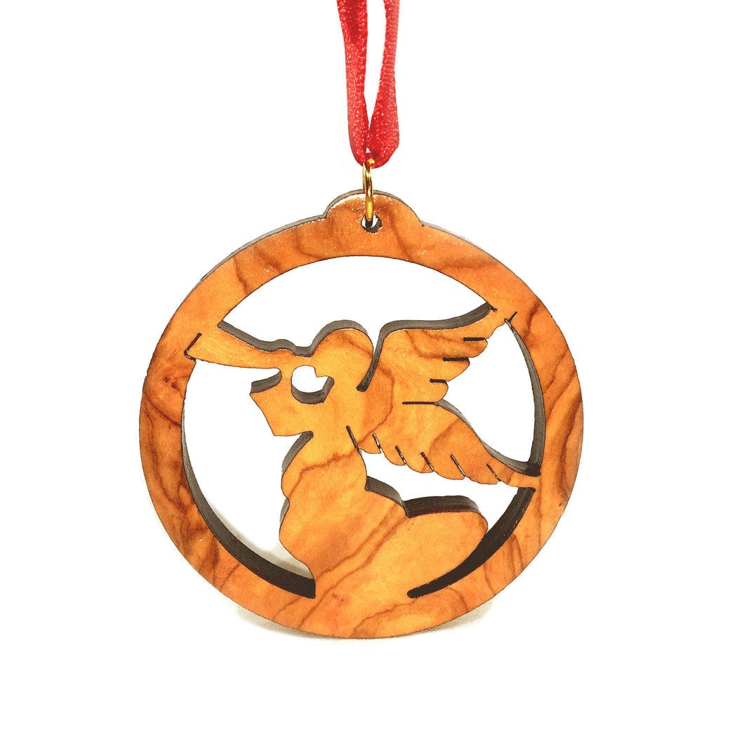 Olive Wood Herald Angel in Circle Ornament