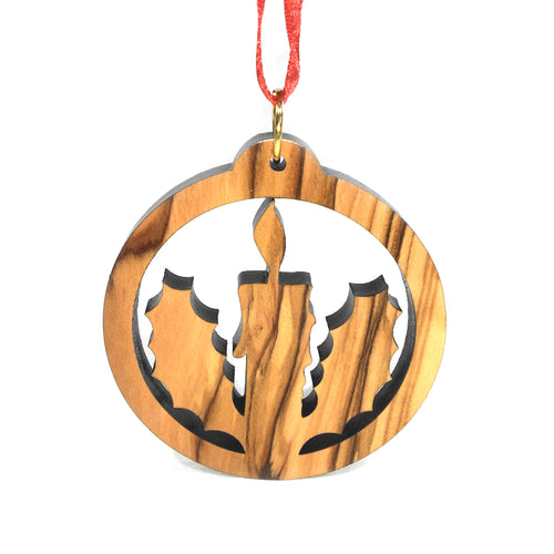 Olive Wood Candle in Holly Ornament