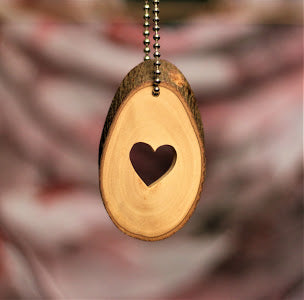 Natural Bark Olive Wood Medallion - Heart of Love