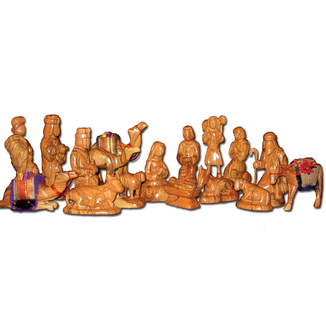 Olive Wood Nativity Set (18 pieces)