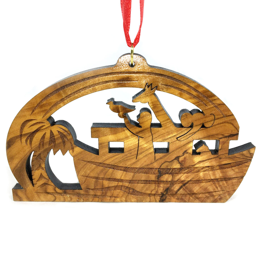 Olive Wood Noah's Ark in Detail Ornament