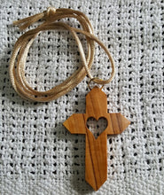 Load image into Gallery viewer, Olive Wood Angled Latin Cross Necklace