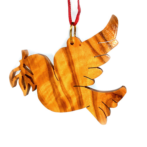 Olive Wood Peace Dove with Olive Branch Ornament