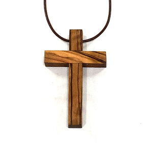 Olive Wood Pilgrim Cross Necklace