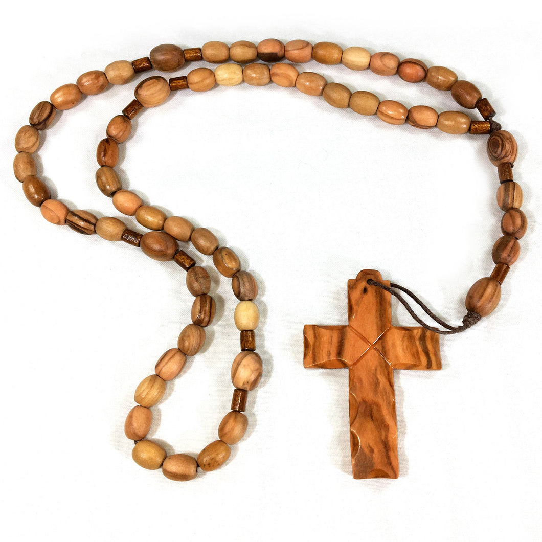 Olive Wood Latin Cross on Rosary - Oval Beads
