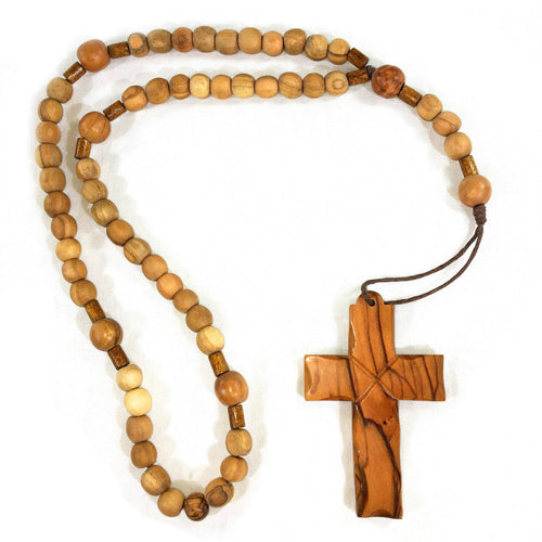 Olive Wood Latin Cross on Rosary - Round Beads