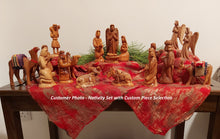 Load image into Gallery viewer, Customer 17-Piece Handmade Olive Wood Nativity Set