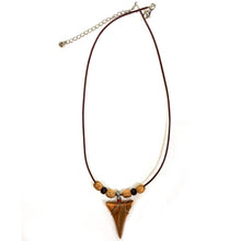 Load image into Gallery viewer, Olive Wood Shark Tooth Necklace - With Olive Wood Beads