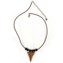 Load image into Gallery viewer, Olive Wood Shark Tooth Necklace