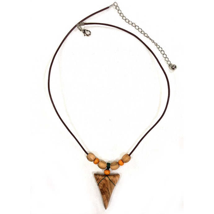 Shark Tooth Necklace - Orange with Olive Wood Beads