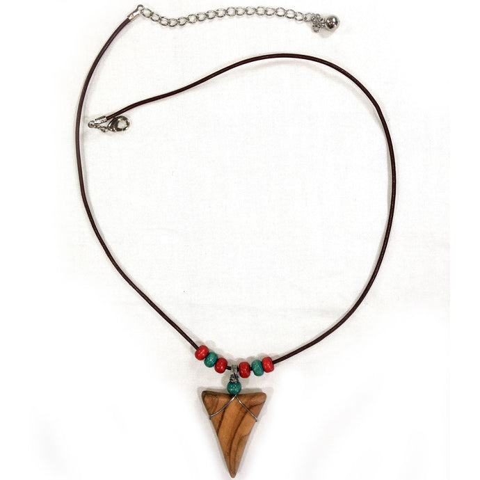 Shark Tooth Necklace - Red and Turquoise
