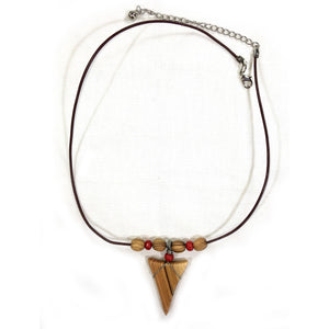 Olive Wood Shark Tooth Necklace - With Olive Wood Beads