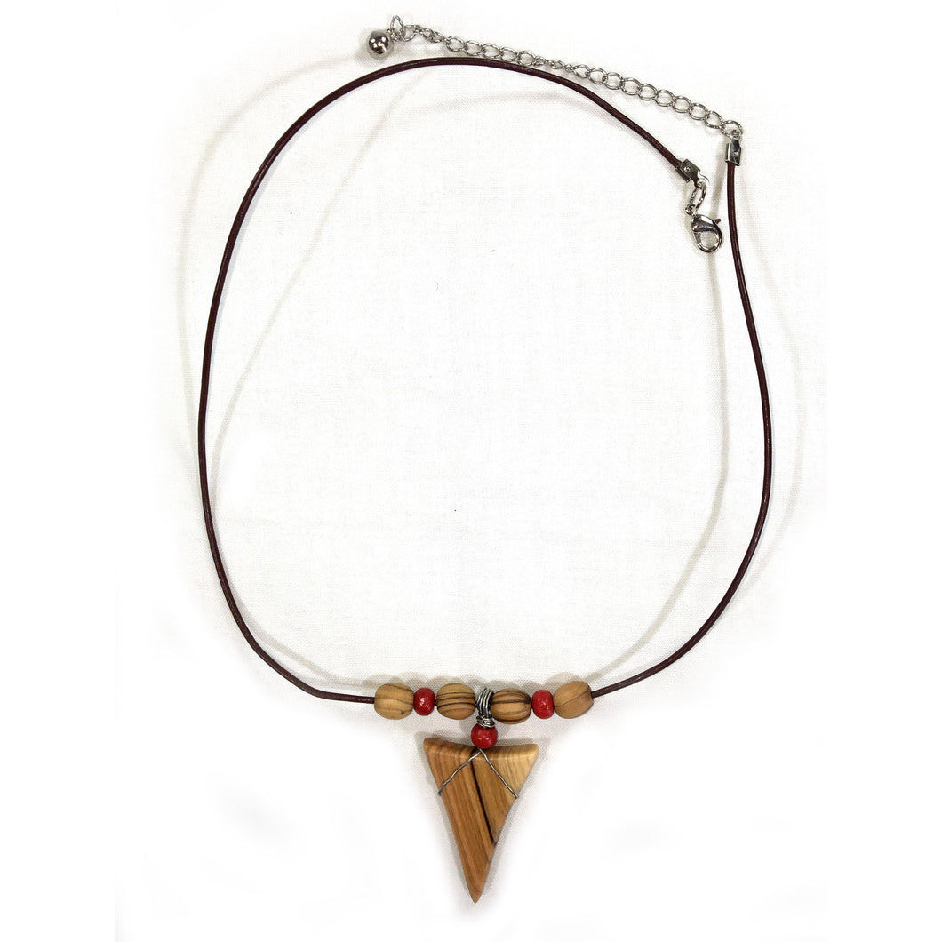 Olive Wood Shark Tooth Necklace - Olive Wood Beads and Red
