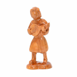 Olive Wood Shepherd Figure Standing with Lute