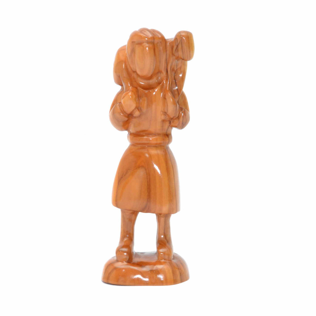Olive Wood Shepherd Figure Standing with Sheep