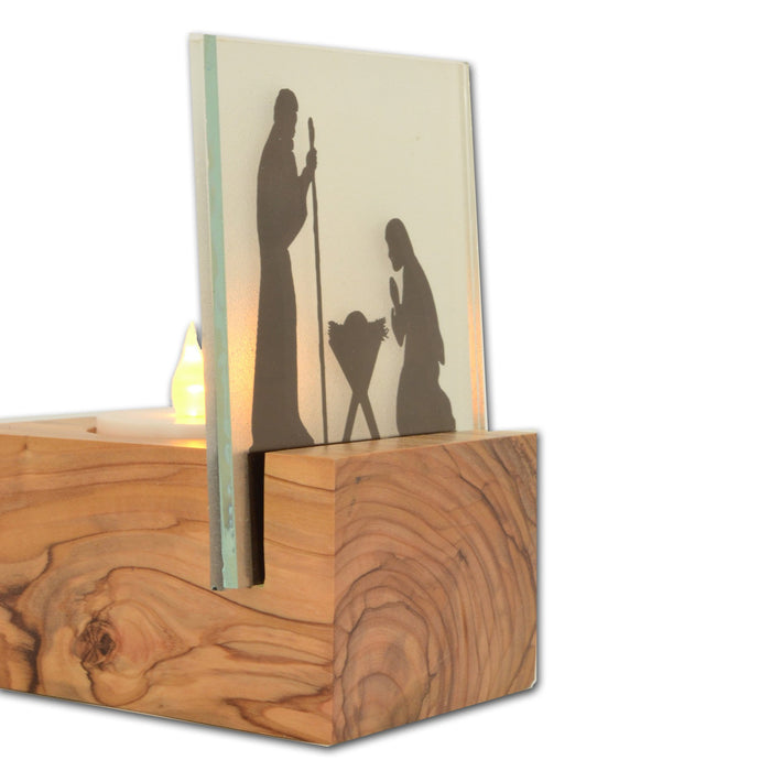 Olive Wood Tea Light Silhouette - Nativity