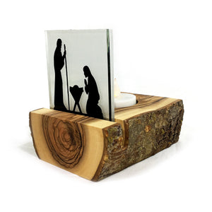 Olive Wood Tea Light Silhouette - Nativity with Natural Bark