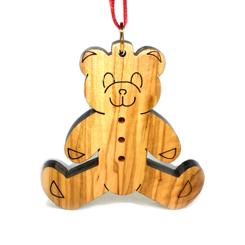Olive Wood Teddy Bear Sitting Ornament