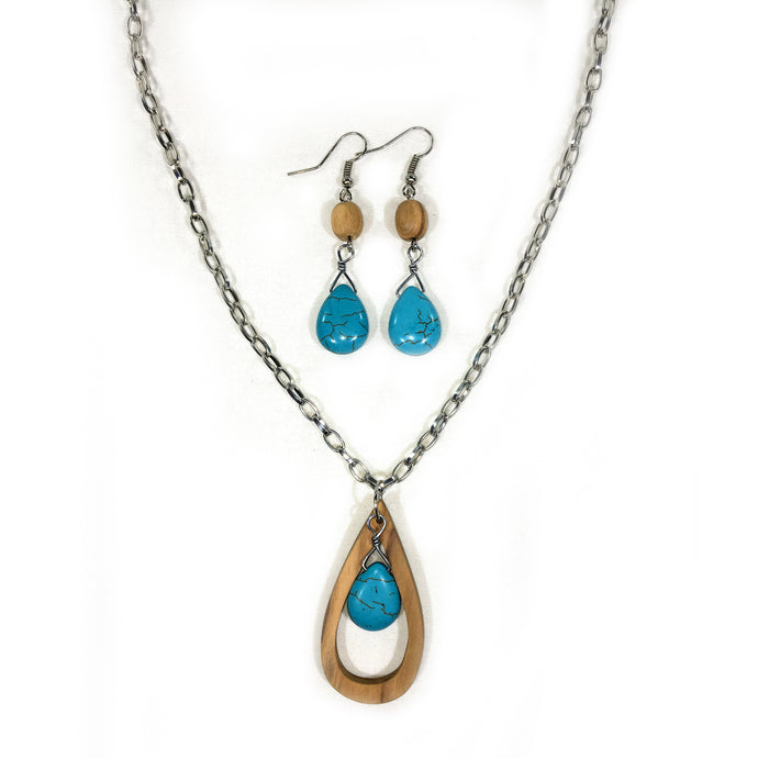 Turquoise Teardrop Necklace and Earring Set