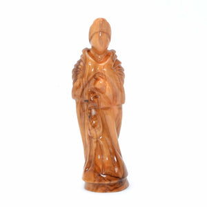 Olive Wood Wiseman Figure - Standing with Bag of Myrrh
