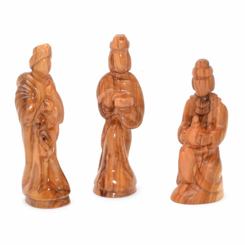 Olive Wood Wiseman Set of 3 Heirloom Figures Gifts of Gold, Frankincense, and Myrrh
