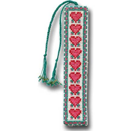 From the Heart Bookmark - Pink and Teal