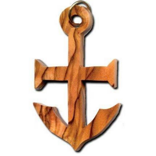 Olive Wood Faith Anchor Keychain