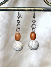 Load image into Gallery viewer, Alternate Sea Foam Howlite White Turquoise Earrings