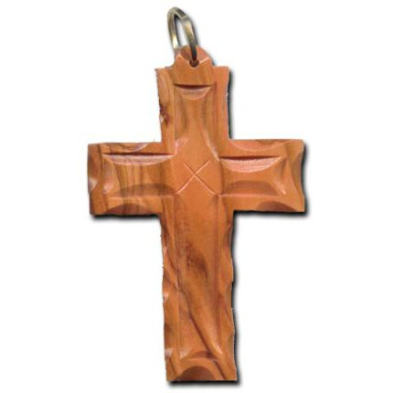 Olive Wood Scalloped and Etched Latin Cross Necklace