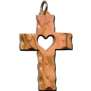 Olive Wood Cross with Heart Ornaments