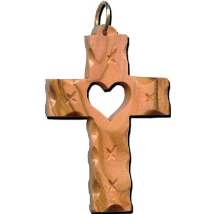 Olive Wood Latin Cross with Heart Ornament