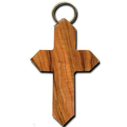 Olive Wood Angled Latin Cross Keychain