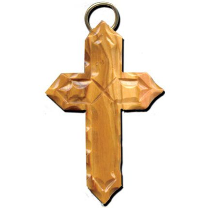Olive Wood Angled Scalloped and Etched Latin Cross Necklace