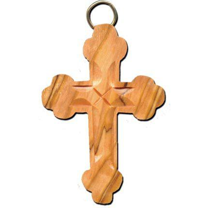 Olive Wood Budded Cross Keychain