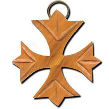 Load image into Gallery viewer, Olive Wood Greek Fleurie Cross Keychain