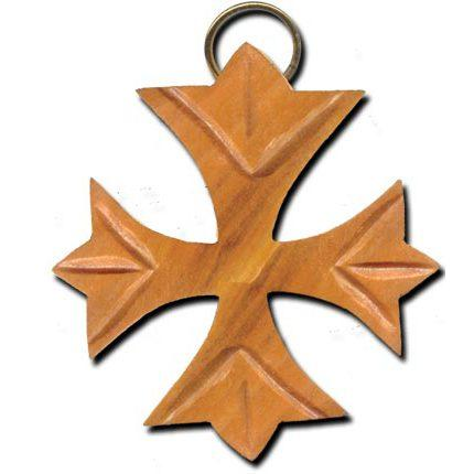 Olive Wood Greek Fleurie Cross Keychain